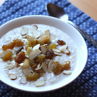 Hot Brown Rice Cereal with Almonds and Golden Raisins