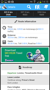 ViaMichelin Route planner,maps - screenshot thumbnail