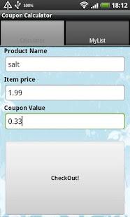 Coupon Calculator - screenshot thumbnail