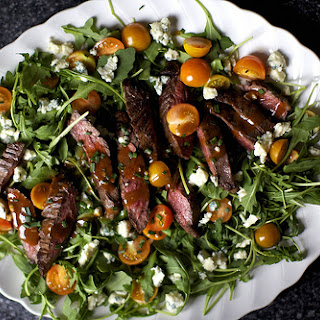 Skirt Steak Salad with Arugula and Blue Cheese.