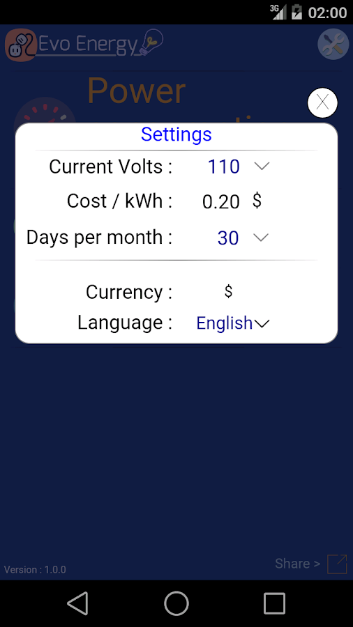 EvoEnergy - Cost Calculator- screenshot