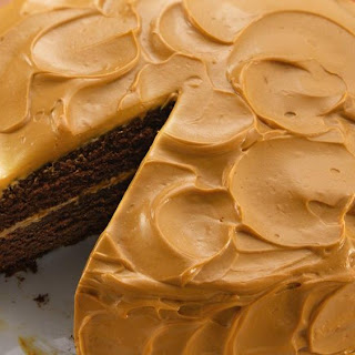 Mexican Chocolate Cake with Caramel Cream Frosting.