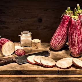 eggplants by Giorgio Baruffi - Food & Drink Fruits & Vegetables ( eggplants, melanzane, light painting, old kitchen )