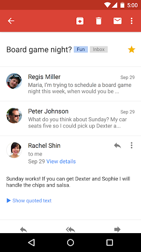 Screenshot 2 for GMail's Android app'