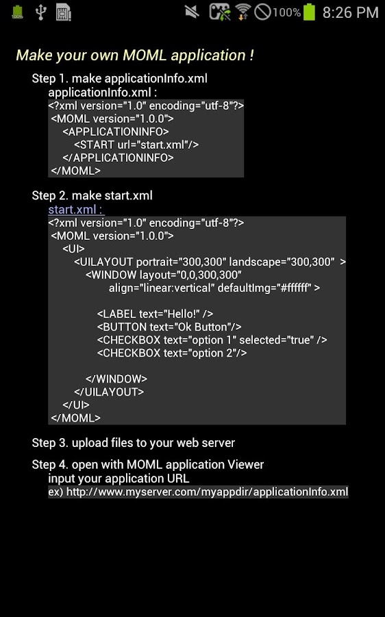 MOML Application Viewer(devel)- screenshot