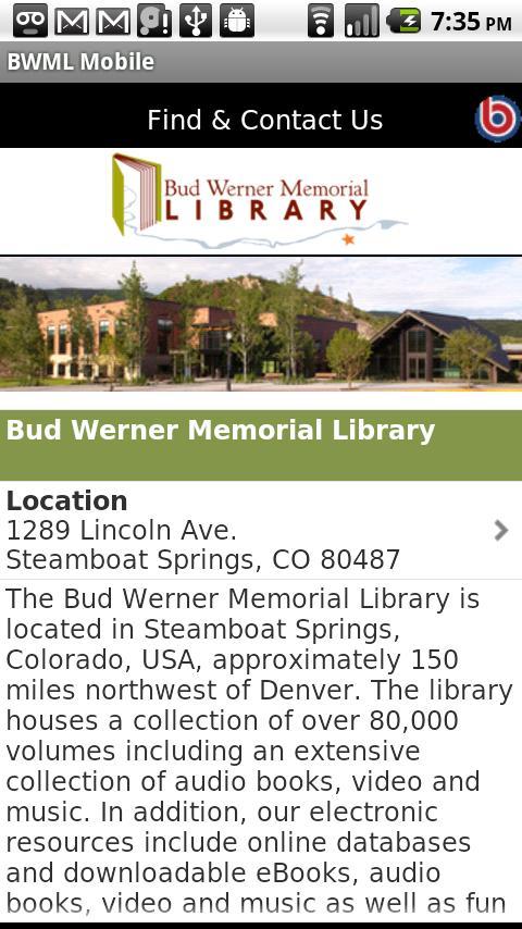 Bud Werner Memorial Library- screenshot
