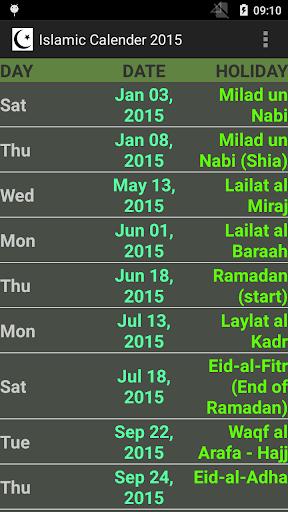 ISLAMIC HOLIDAY CALENDAR 2015