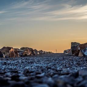 Infinity Walk by Mitchell Oates - Landscapes Sunsets & Sunrises ( skyline, australia, rock formation, beach, sunrise, landscape, metalic, breakwall )