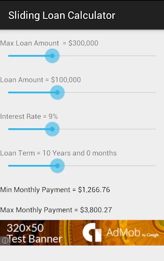 Sliding Loan Calculator