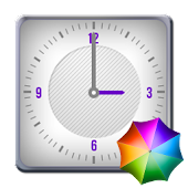 White Square Clock Widget