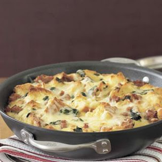 Strata with Chard, Sausage and Caramelized Onions