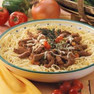 Steak Strips with Spaghetti.