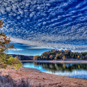 Early Autumn Sky by Michael Buffington - Landscapes Cloud Formations ( clouds, sky, blue, autumn, lake,  )