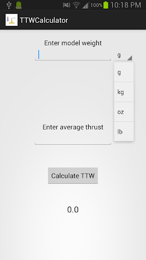 Thrust to Weight Calculator