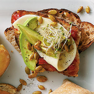 Avocado and Sprout Sandwiches.