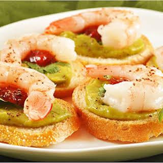 Avocado and Shrimp Crostini.