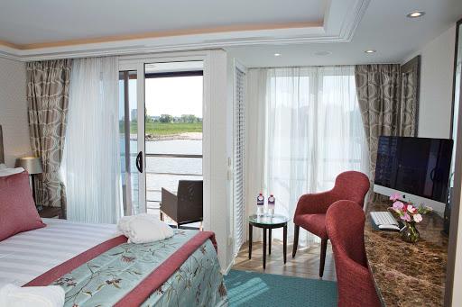AmaSonata-twin-balcony-stateroom - The twin balcony stateroom aboard AmaWaterways' AmaSonata,