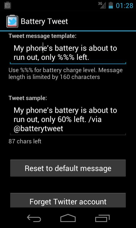 Battery Tweet- screenshot