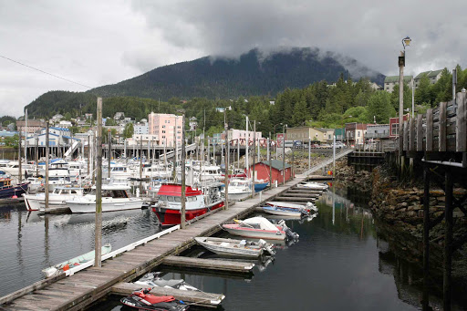 Ketchikan-Alaska-harbor - Boats tied to the dock in Ketchikan, Alaska.