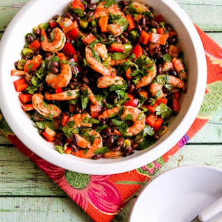Shrimp and Black Bean Salad with Cilantro, Cumin, and Lime.