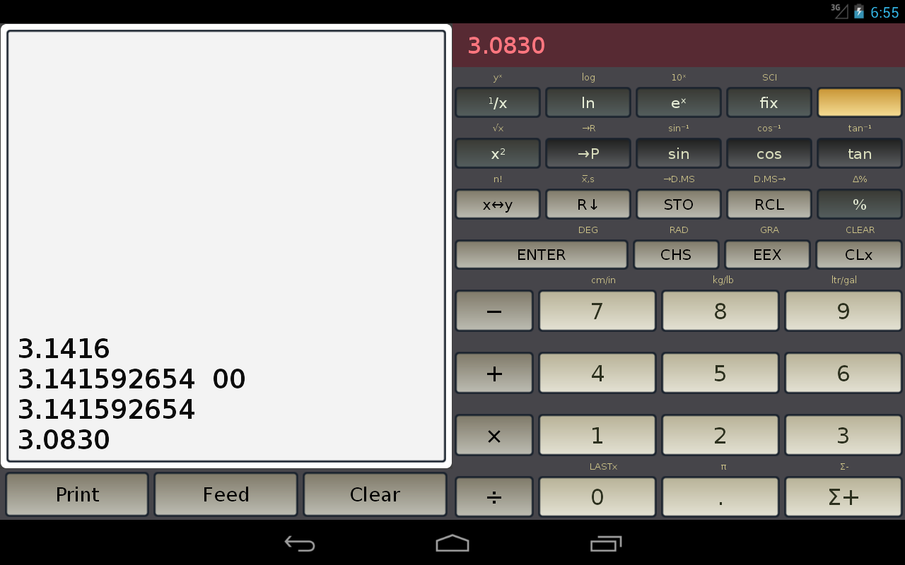 HP-45 scientific calculator- screenshot