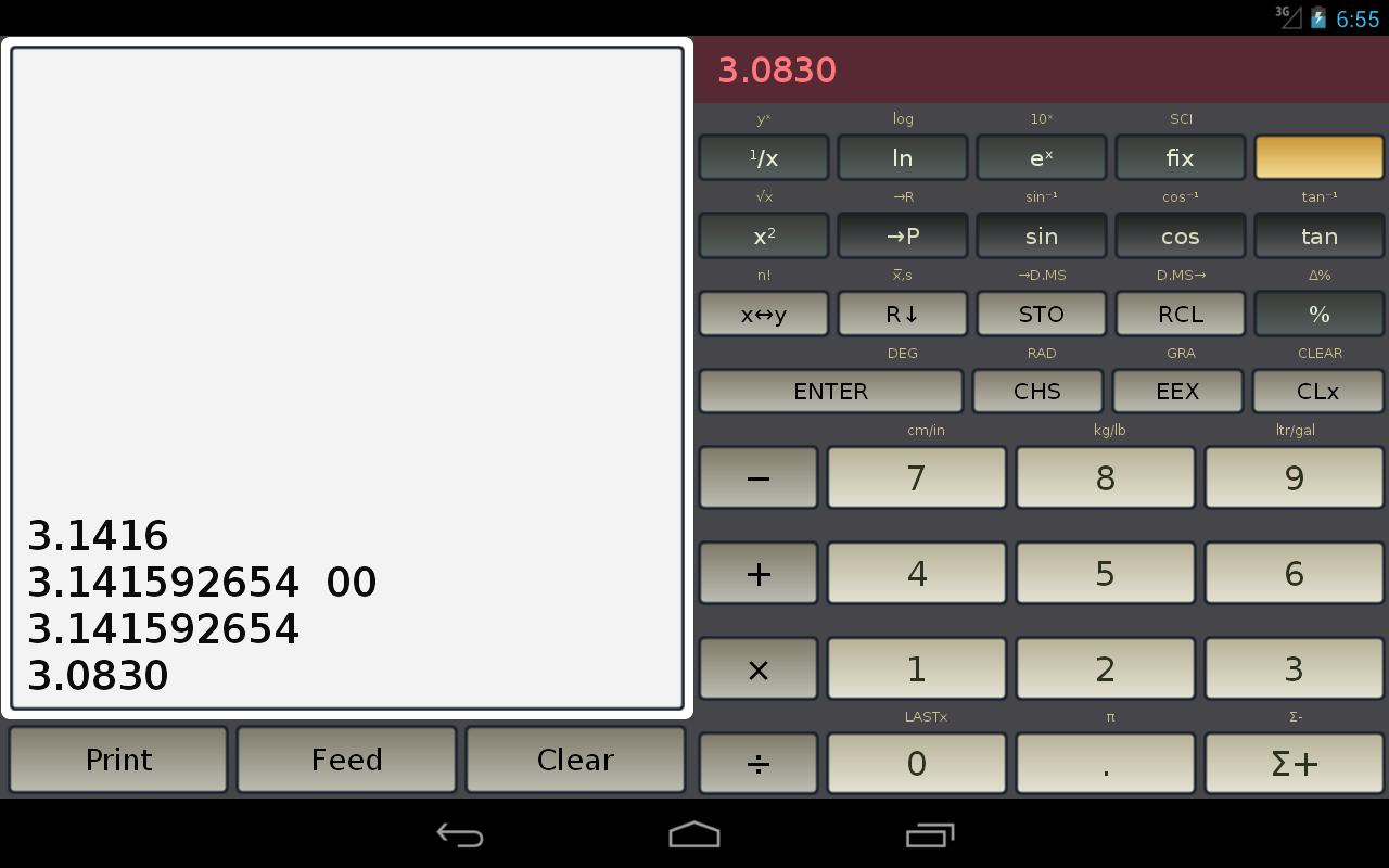 HP-45 scientific calculator - screenshot