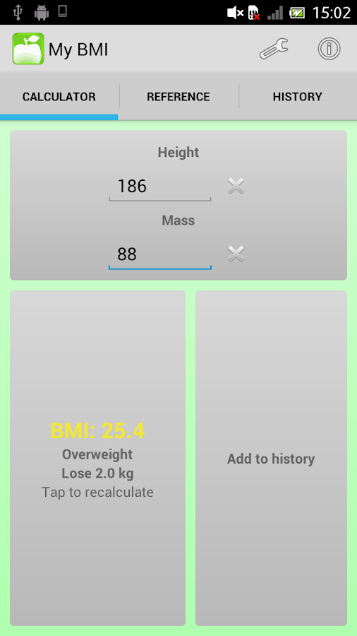 BMI Calculator and Tracker - screenshot