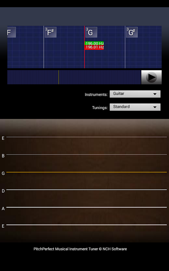 PitchPerfect Free Guitar Tuner – Screenshot