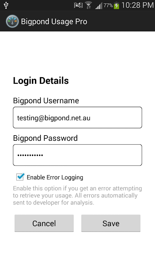 Bigpond Usage Pro - screenshot