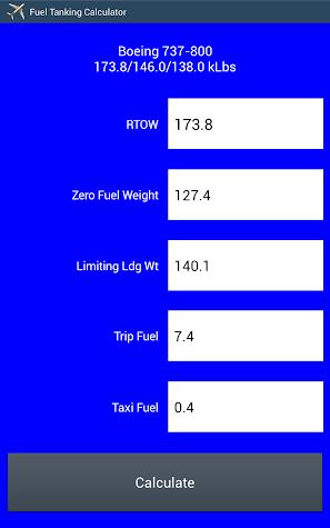 Aircraft Tanker Calc Trial Screenshot