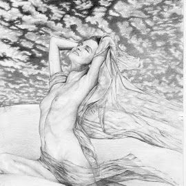 :: Sky :: by Miranti Minggar T - Drawing All Drawing ( drapery, woman artist, pencil on paper, nude, indonesia, woman, miranti minggar, people, drawing, human )