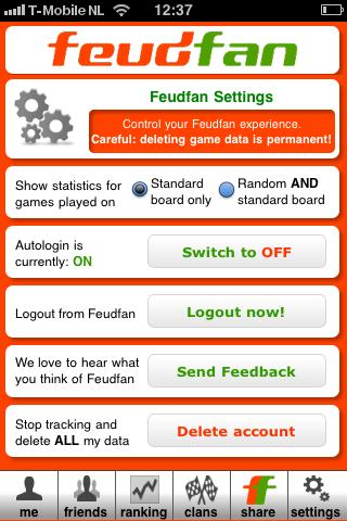 Feudfan - Wordfeud tracker - screenshot