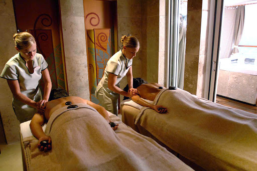 Disney-Wonder-Vista-Spa-Villas-couples-massage - Salon treatments are available for both women and men at the Vista Spa on deck 9 of Disney Wonder. Operated by Steiner of London, the most prestigious name in the spa industry, the spa offers a wide range of treatments, including couples massage and a 75-minute Elemis Aroma Stone Therapy.