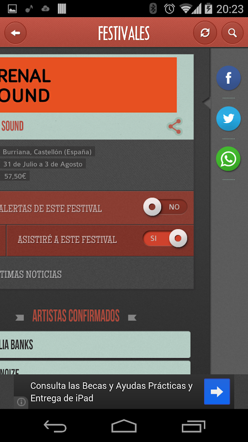 Festivales - screenshot
