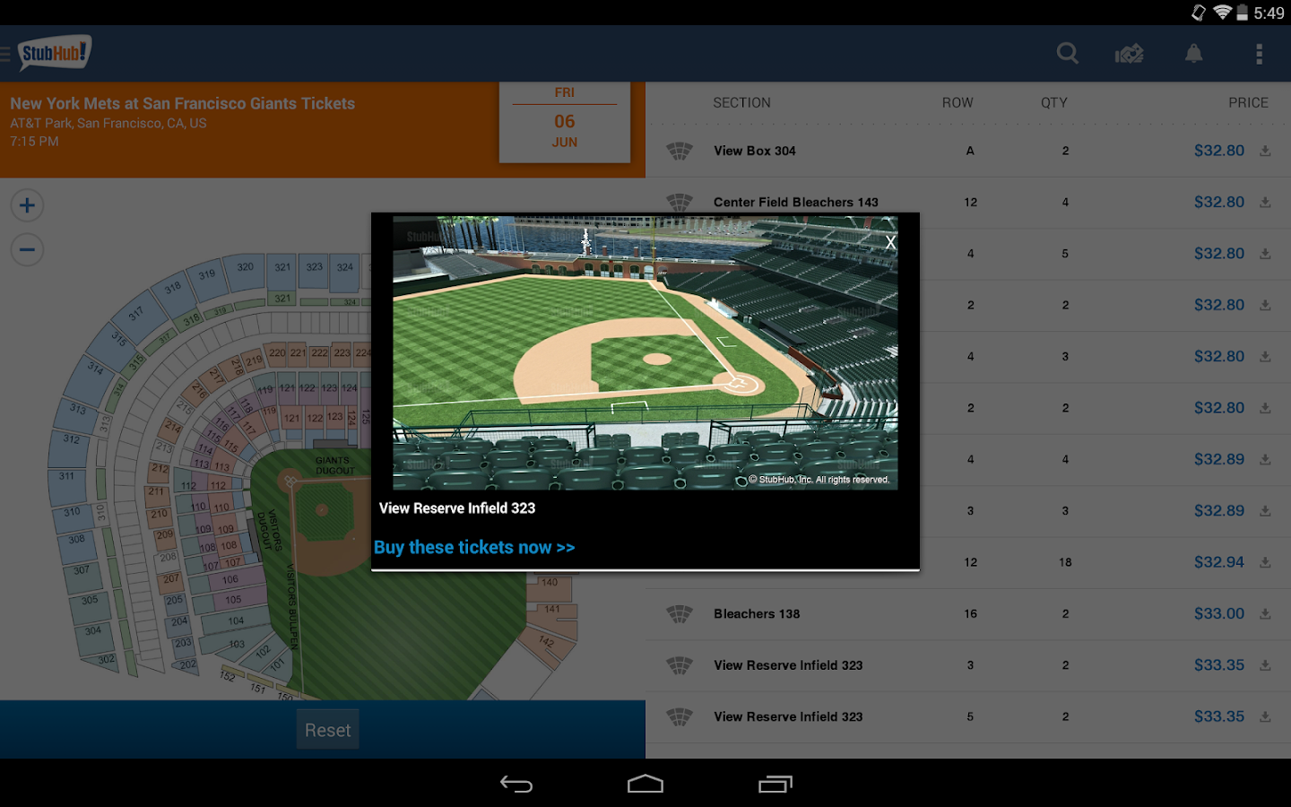 StubHub - Event tickets - screenshot