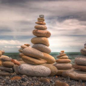 Stacked pebbles by Brian Miller - Artistic Objects Other Objects ( canon, pebbles, seaside, beach, coast,  )