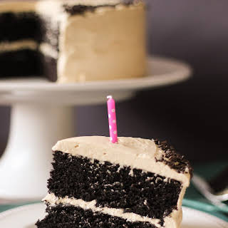 Chocolate Cake with Peanut Butter Buttercream Frosting.