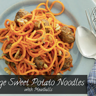 Sage Sweet Potato Noodles with Meatballs
