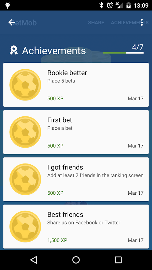 Soccer betting with BetMob- screenshot