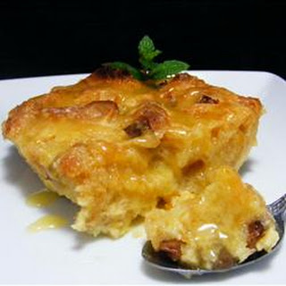 Panettone Bread Pudding with Spiced Orange Sauce.