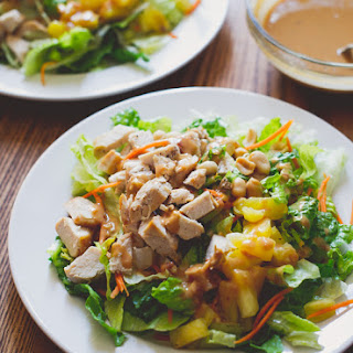 Asian Chopped Chicken Salad Recipe with Peanut Dressing.