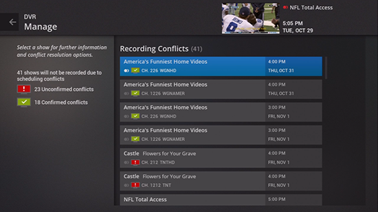 View DVR recordings conflicts on legacy Fiber TV