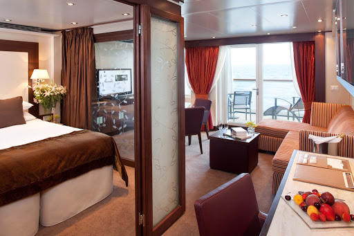 All Penthouse Suites on Seabourn Quest offer a dinning area, private veranda, fully stocked bar, and more.