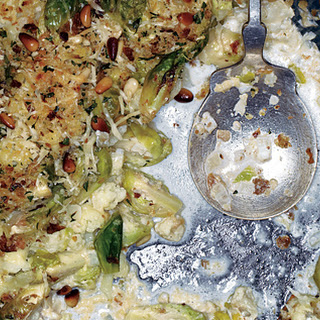 Cauliflower and Brussels Sprout Gratin with Pine Nut-Breadcrumb Topping.