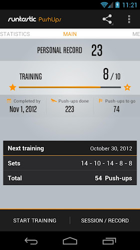 Runtastic Push-Ups Workout PRO Android App Screenshot