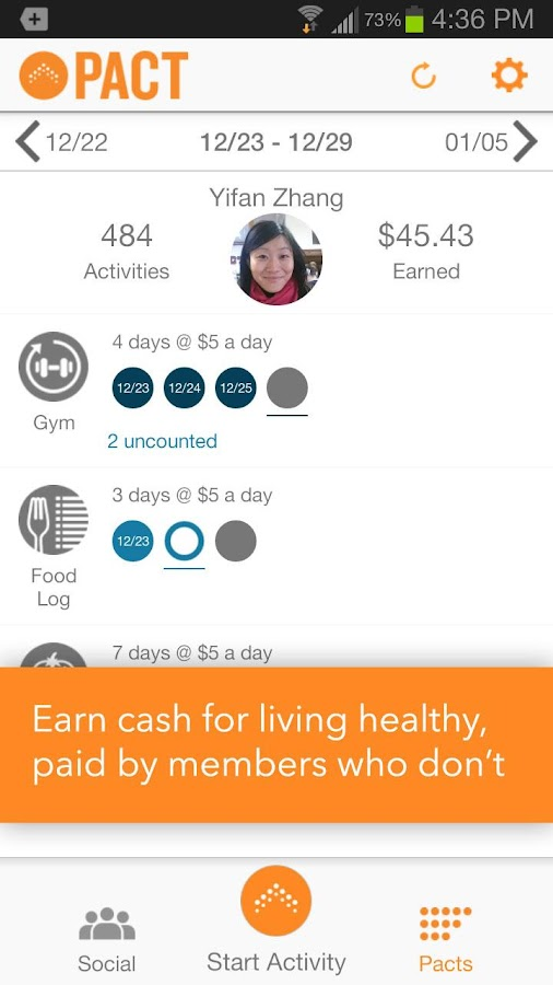 Pact - Cash for Living Healthy - screenshot