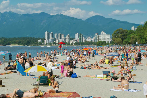 Kits-Beach-Vancouver-British-Columbia - Kits Beach (formally, Kitsilano Beach)  with downtown Vancouver, BC, and mountains in the background