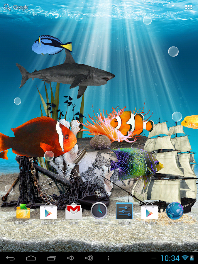 3d aquarium live wallpaper hd android apps p google play for Live fish aquarium wallpaper