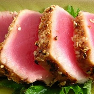 Grilled Macadamia-Crusted Tuna with Papaya Salsa.