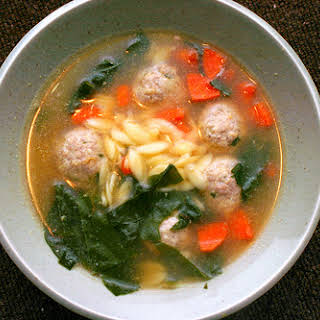 Escarole and Orzo Soup with Turkey Parmesan Meatballs.